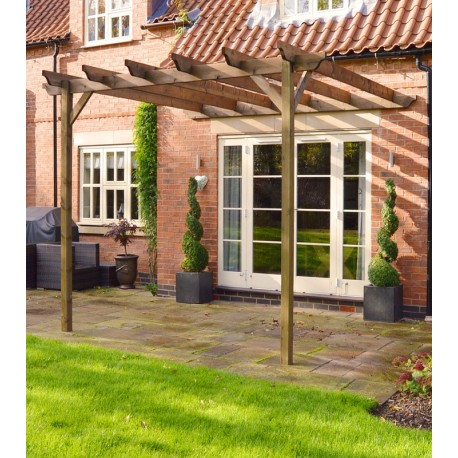 Wooden Garden Lean To Pergola 3 6m X 3 6m