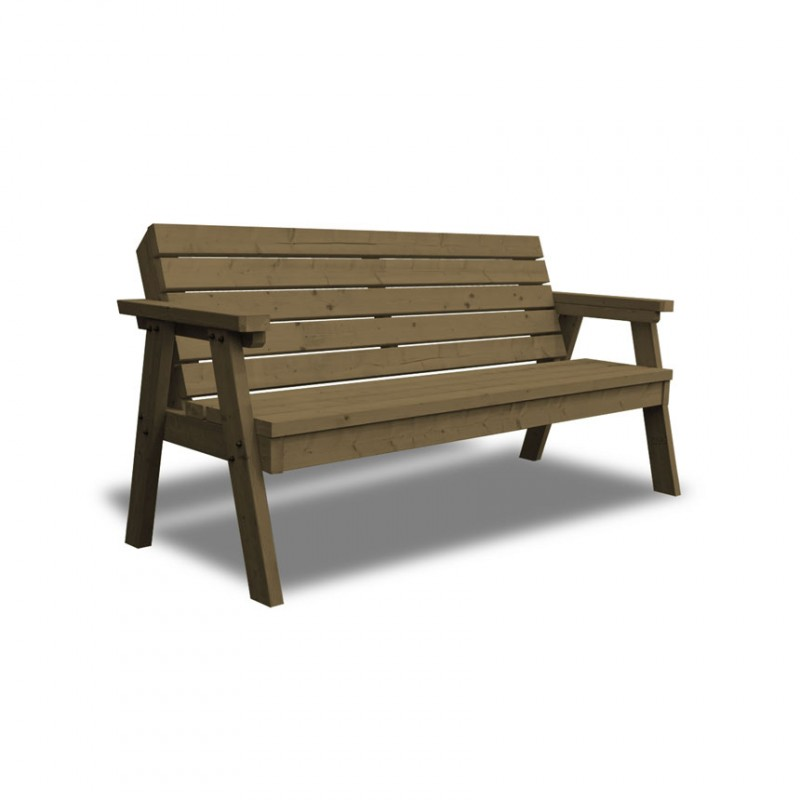Garden wooden bench with back 3 seaters for Outdoor bench with back
