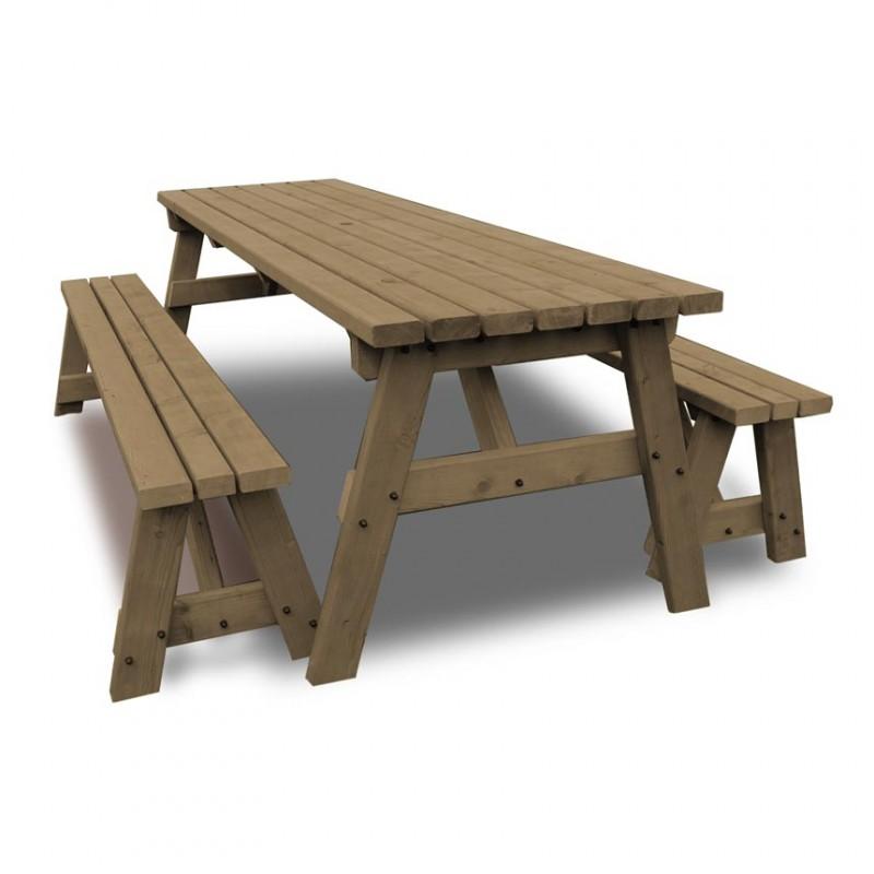6ft wooden garden table and bench set. Black Bedroom Furniture Sets. Home Design Ideas