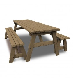 8FT PICNIC TABLE AND BENCH brown
