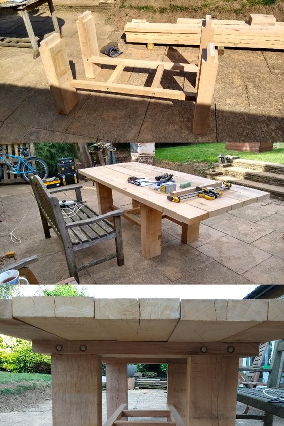 Garden table built with railway sleepers