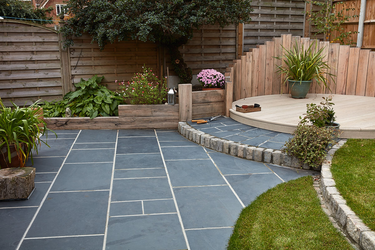 Garden landscaping with sleepers