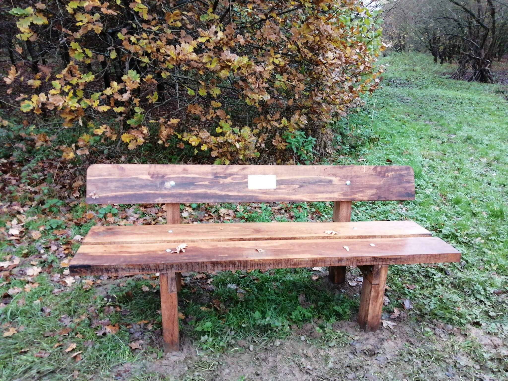 Memorial bench from oak sleepers