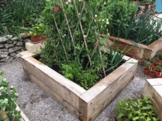 Railway sleepers used for raised bed