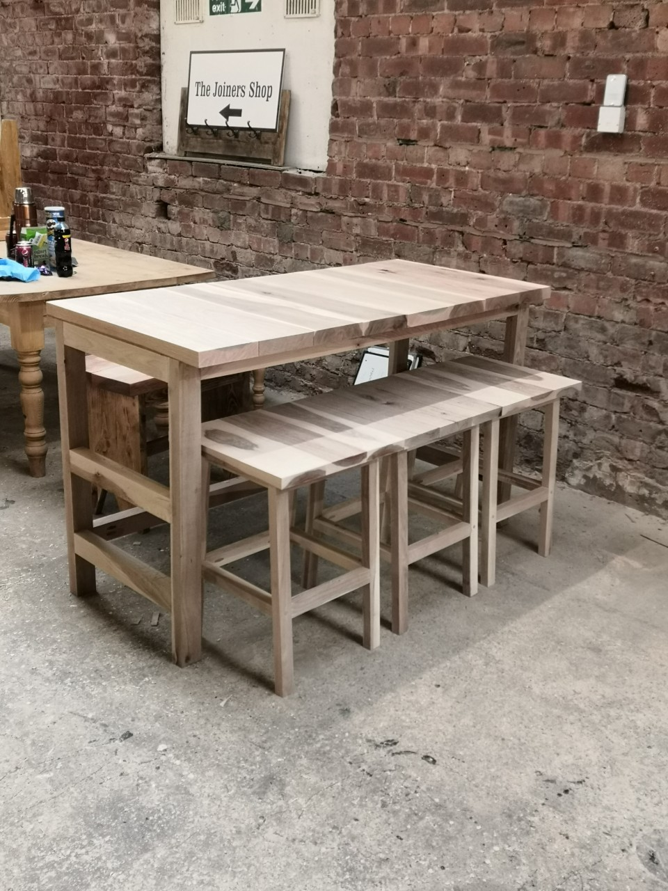Garden table and stools built with oak sleepers