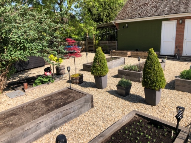 Raised beds from oak sleepers and oak fence posts