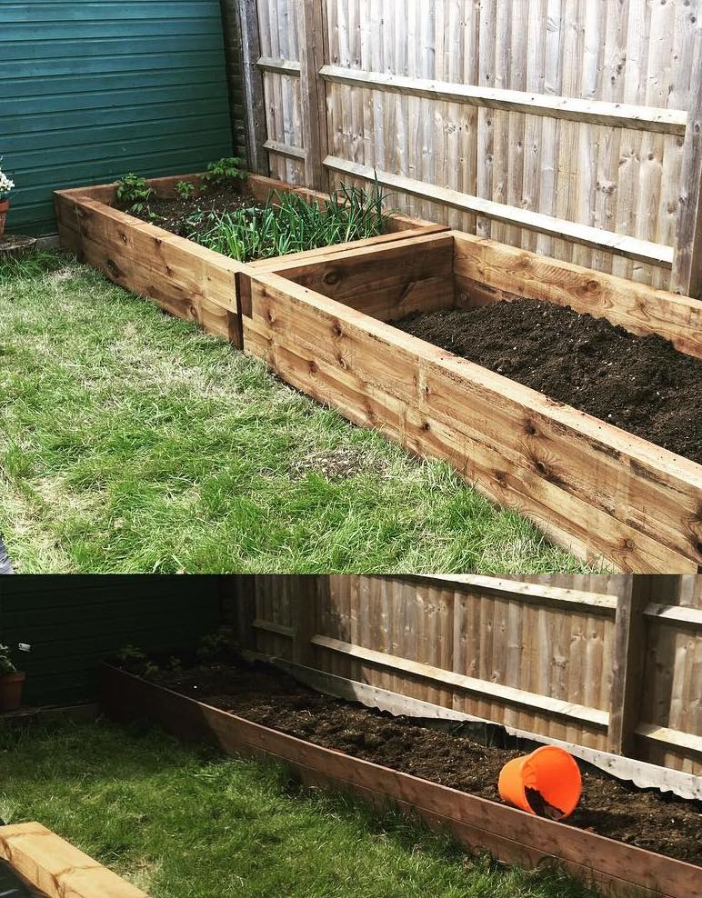 garden sleepers used for raised beds