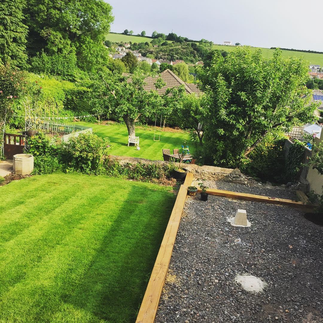 Garden edging with railway sleepers