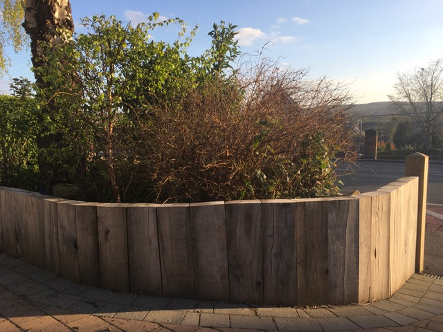 Untreated oak sleepers used for a vertical garden wall