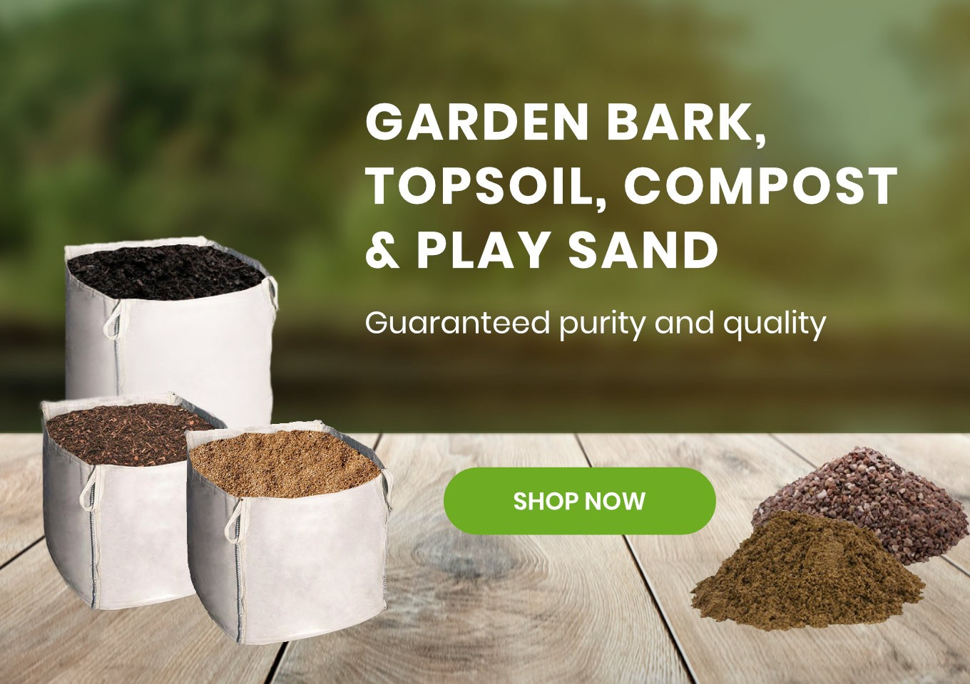 Bark mulch, compost, soils and play surfaces for sale